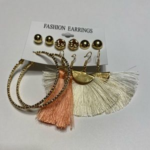 NWOT 6 Pair White Peach Tassel Hoop Earrings Gold